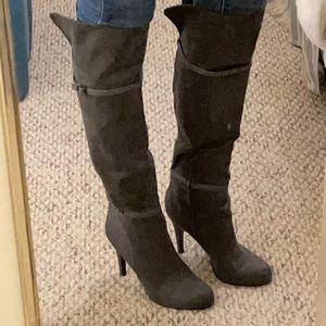 Grey Aldo knee high boots
